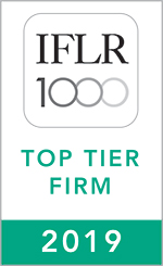 IFLR 1000 FINANCIAL AND CORPORATE TOP TIER FIRM 2019