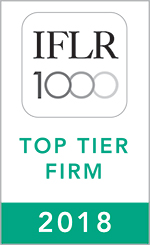 IFLR 1000 FINANCIAL AND CORPORATE TOP TIER FIRM 2018