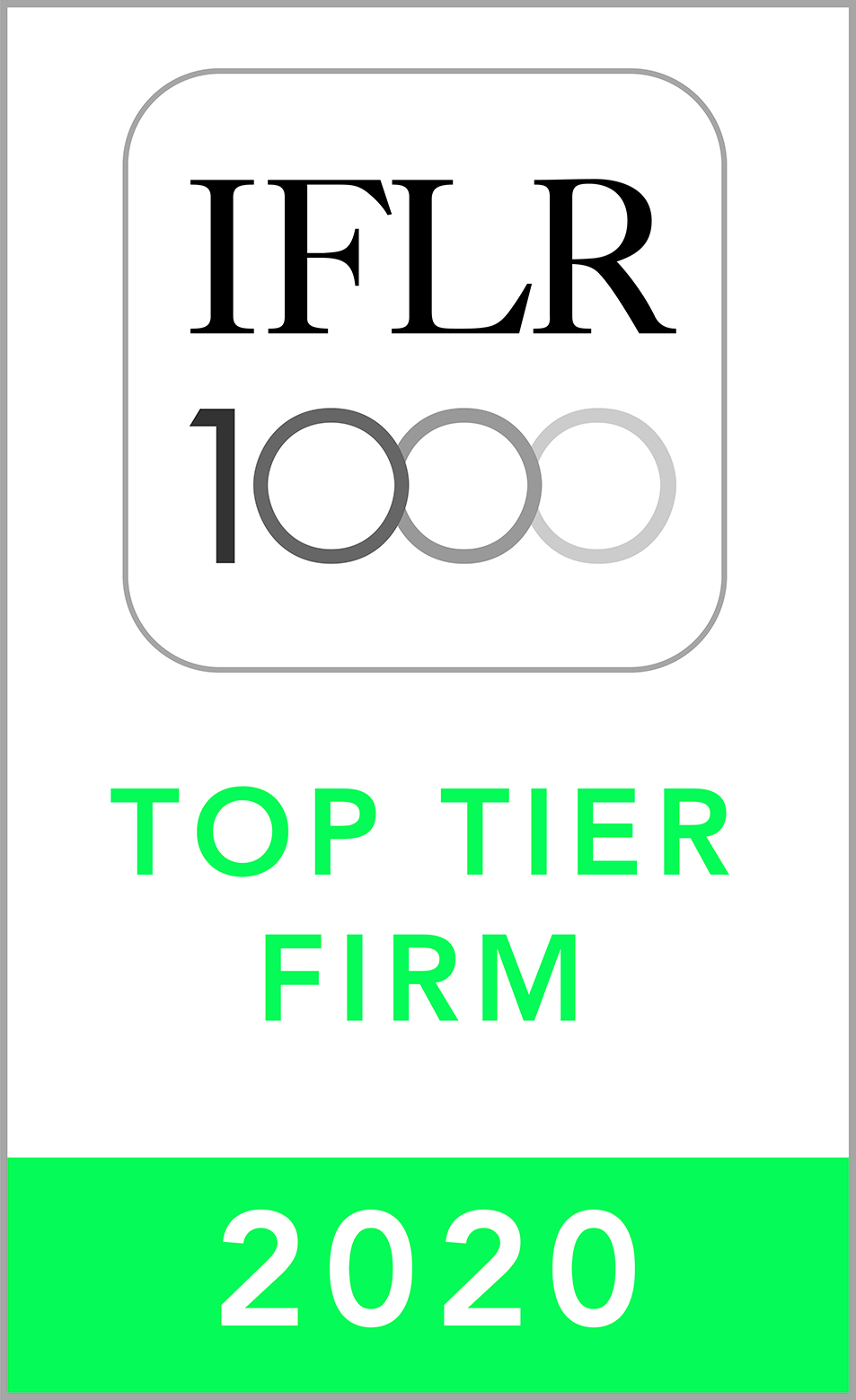 IFLR 1000 FINANCIAL AND CORPORATE TOP TIER FIRM 2020